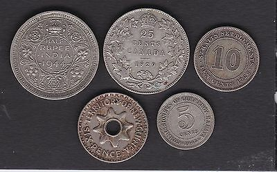 Briotish Commonwealth silver coins, Canada,India,Straits & PNG