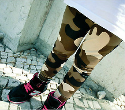 Girls Kids Children Army Military Camouflage Green Camo Pants Leggings 2-8yrs