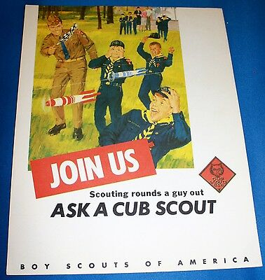"""Boy Scouts Of America Cardboard """"Join Us-Ask A Cub Scout"""" Poster"""