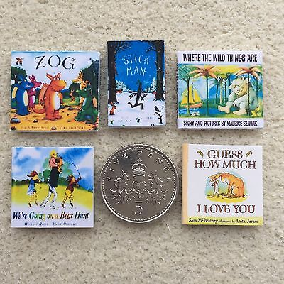 SET of FIVE DOLLS HOUSE MINIATURE CHILDRENS BOOKS Handmade 1:12th scale