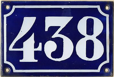 Old blue French house number 438 door gate plate plaque enamel metal sign c1900
