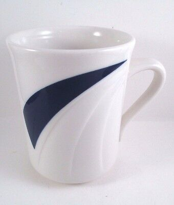 SYRACUSE China DINER Coffee Cup White Dark Blue Swirl Accent