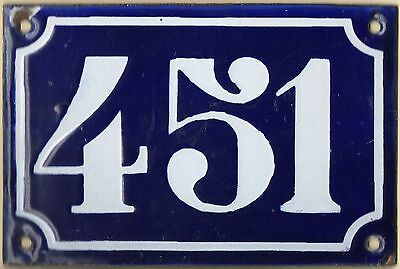 Old blue French house number 451 door gate plate plaque enamel metal sign c1900