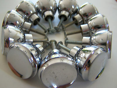 Lot of 11 Vintage Chrome Plated Cabinet Door Knobs Drawer Pulls 1-1/4 Diameter
