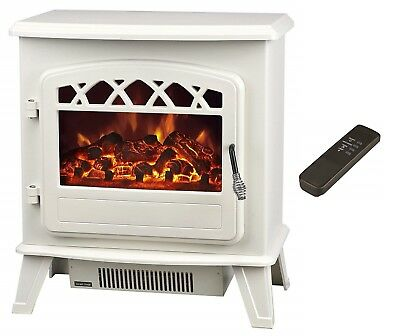 Galleon Fires Electric Stove Heater with Log Flame Effect Fire Cream Warm White