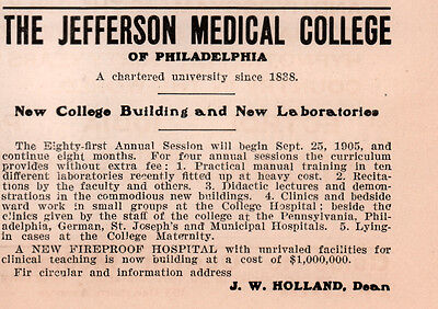 1905 Ad  Jefferson Medical College