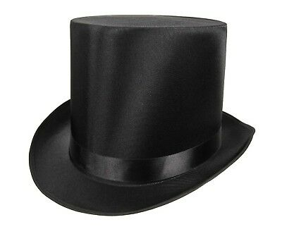 Tall QUALITY SATIN Top Hat Slash Victorian Steampunk Dickens Costume Black Adult
