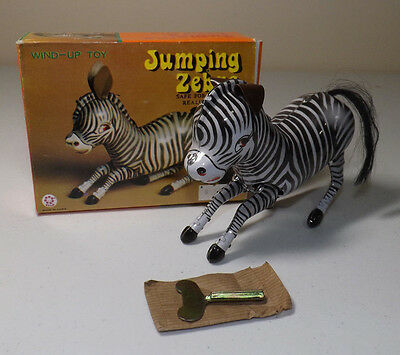 Vintage China Wind Up Tin Toy Jumping Zebra BOXED Collectible