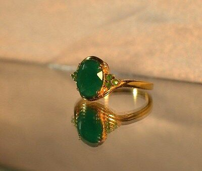 3.67 ct.  NATURAL GENUINE EMERALD Set in 24k GOLD .925 STERLING  SILVER RING