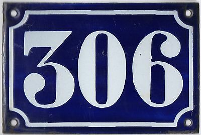 Old blue French house number 306 door gate plate plaque enamel metal sign c1900