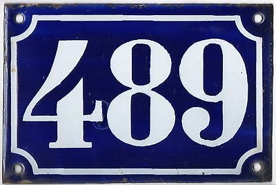 Old blue French house number 489 door gate plate plaque enamel metal sign c1900
