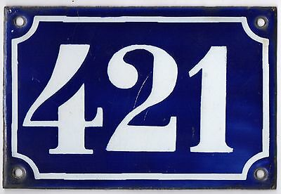 Old blue French house number 421 door gate plate plaque enamel metal sign c1900