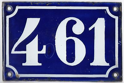 Old blue French house number 461 door gate plate plaque enamel metal sign c1900