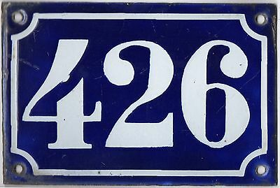 Old blue French house number 426 door gate plate plaque enamel metal sign c1900