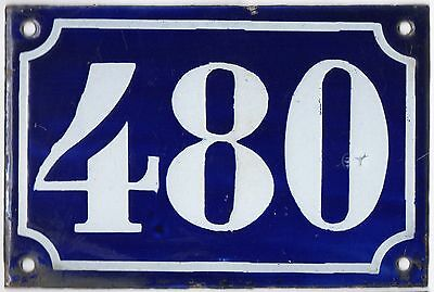 Old blue French house number 480 door gate plate plaque enamel metal sign c1900
