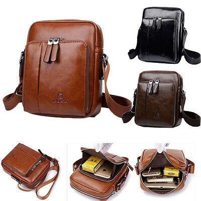 Men's Leather Business Briefcase Shoulder Bags Crossbody Casual Bag Messenger