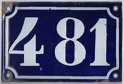 Old blue French house number 481 door gate plate plaque enamel metal sign c1900