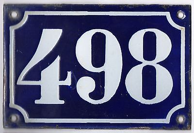 Old blue French house number 498 door gate plate plaque enamel metal sign c1900