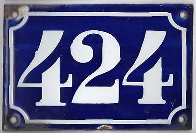 Old blue French house number 424 door gate plate plaque enamel metal sign c1900