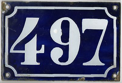 Old blue French house number 497 door gate plate plaque enamel metal sign c1900