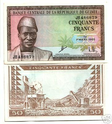 UNCIRC MULTICOL 1960 GUINEA 50F Sekou Toure/Flying Dove RARE SO NICE $100 RETAIL