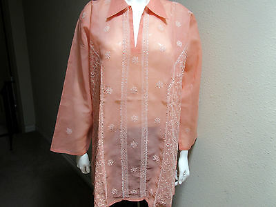 New India Chikan 100% Cotton Ethnic Kurta Kurti Collar Peach Ladies Top Blouse