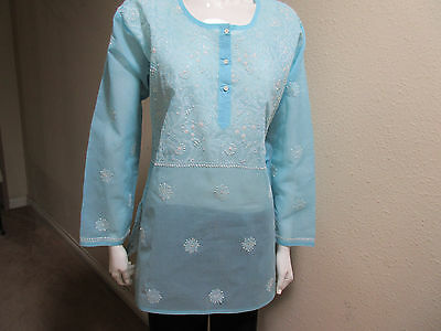 New India Chikan 100% Cotton Ethnic Kurta Kurti White on Blue Ladies Top Blouse