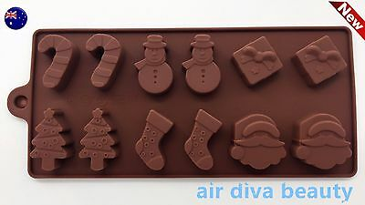 Christmas Santa Chocolate Cake ice Cube Cookie Silicone Mold Mould Decorating
