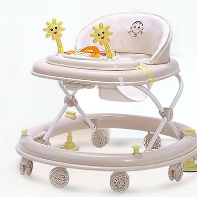 New Baby Walker Toddler Safety Anti-Rollover Seat Music First Steps Toys W/Brake