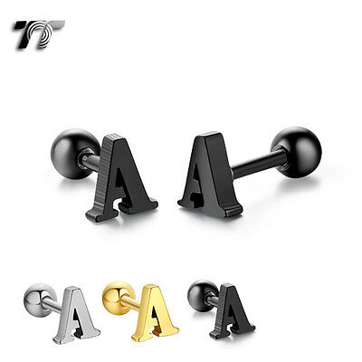 TT Surgical Steel Letter A Fake Ear Cartilage Tragus Earrings (TR26) NEW