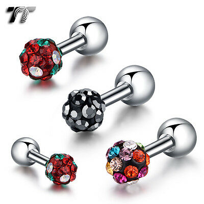 TT Surgical Steel Crystal 3/4mm Ball Cartilage Earrings (TR16)