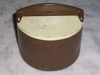 A Vintage 60's Retro Wood Lid Hanging Kitchen Salt Box