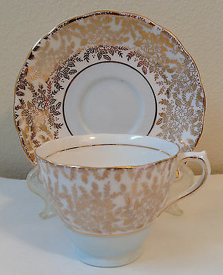 Vintage Colchlough Bone China Tea Cup Saucer Small Gold Gilt Flowers England