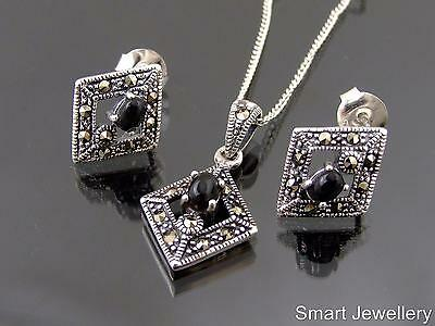 925 Sterling Silver Marcasite Black Onyx Pendant stud Earring necklace set