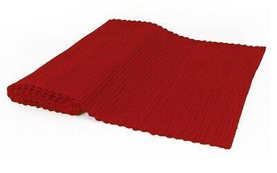 Red Wide Ribbed Table Runner 200cm x 35cm  Cotton