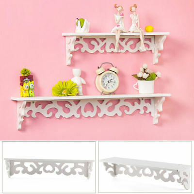 2 x White Shabby Chic Filigree Style Wood Shelves Cut Out Design Wall Shelf Home