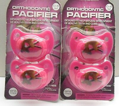 4 Pink RealTree Orthodontic Camo/Camouflage Pacifiers 0-6 Months Two Packs of 2