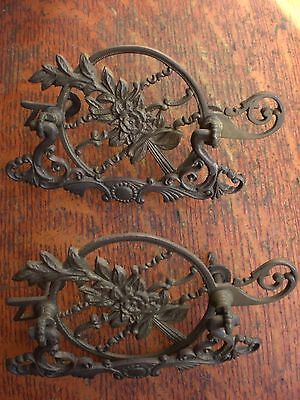 Two Antique Large Fancy Floral Brass Filigreed Victorian Cabinet Drawer Pulls