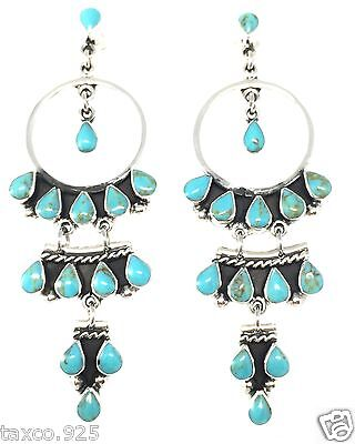 Taxco Mexican Sterling 925 Silver Turquoise Hoop Dangle Earrings Mexico