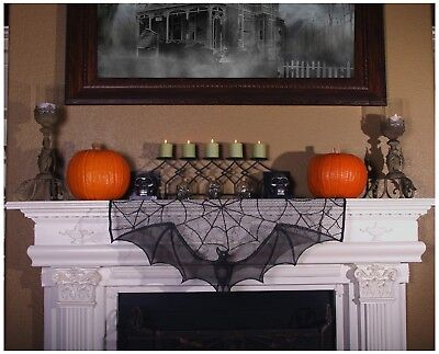 Classic Halloween Decor Curtain Mantle Topper Tablecloth Sheer Bat Spiderweb