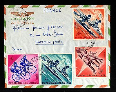 12957-GUINEE-AIRMAIL COVER KINDIA to FONTENAY (france).1964.FRENCH GUINEA.Aerien