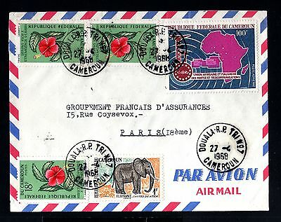 12966-CAMEROON-airmail COVER DOUALA to PARIS (france)1968.FRENCH coloni.CAMEROUN
