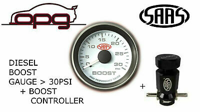 """Saas Turbo Boost Gauge + Boost Controller 52Mm 2"""" 0>30 Psi White Face Diesel Eng"""