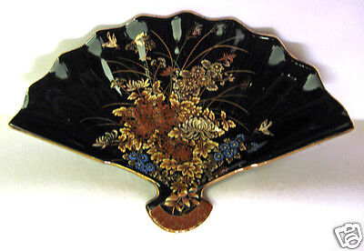 Decorative Fan Shaped Dish Black With Flowers and Birds Gold Trim Marked Japan