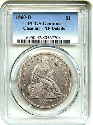 1860-O $1 PCGS Genuine XF Details (Cleaning) Liberty Seated Dollar