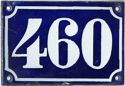 Old blue French house number 460 door gate plate plaque enamel metal sign c1900