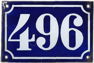 Old blue French house number 496 door gate plate plaque enamel metal sign c1900