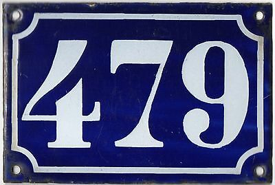 Old blue French house number 479 door gate plate plaque enamel metal sign c1900