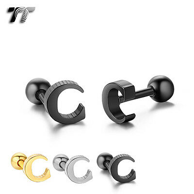 TT Surgical Steel Letter C Fake Ear Cartilage Tragus Earrings (TR24) NEW