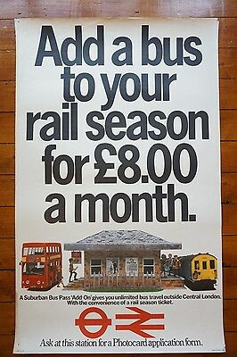 1980 Bus Pass Rail Season London Transport BR Original Railway Travel Poster